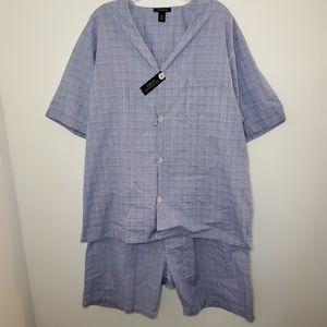 NWT Club Room Glen Plaid Blue Short Pajama Set